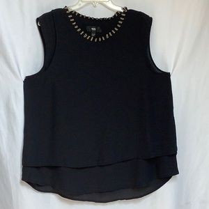 Mossimo Layered Blouse With Gold Beads On Neck XXL
